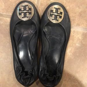 Black Tory Burch Flats with gold emblem